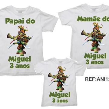 Kit 3 Camisetas Aniversario Tartarugas Ninja Turtles 03