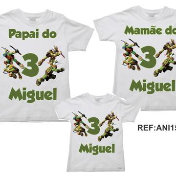 Kit 3 Camisetas Aniversario Tartarugas Ninja Turtles 04