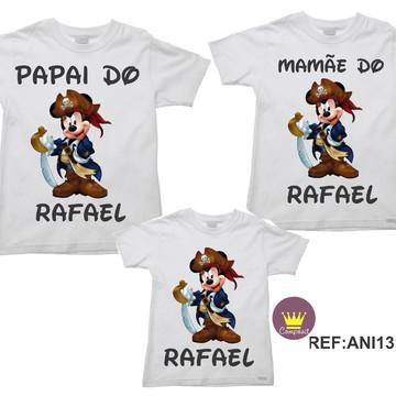 Kit 3 Camisetas Aniversario Mickey Mouse Pirata 01
