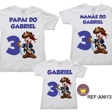 Kit 3 Camisetas Aniversario Mickey Mouse Pirata 02