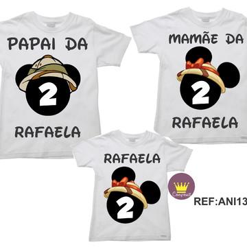 Kit 3 Camisetas Aniversario Mickey Safári 01