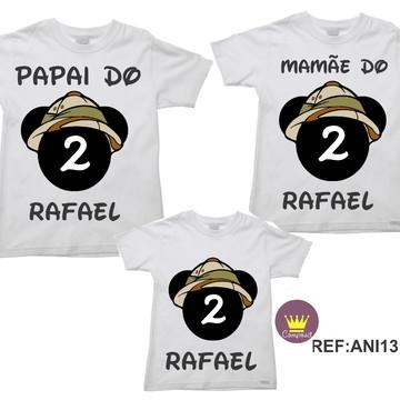 Kit 3 Camisetas Aniversario Mickey Safári 02