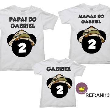 Kit 3 Camisetas Aniversario Mickey Safári 03