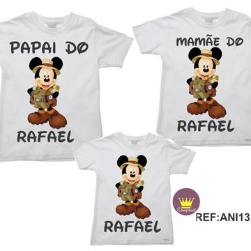 Kit 3 Camisetas Aniversario Mickey Safári 04