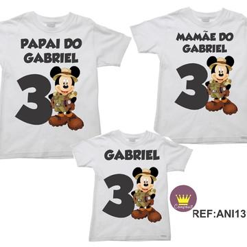 Kit 3 Camisetas Aniversario Mickey Safári 05
