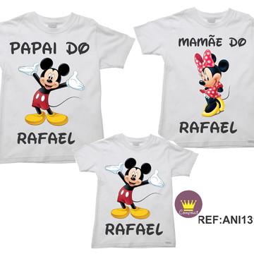Kit 3 Camisetas Aniversario Mickey e Minnie 01