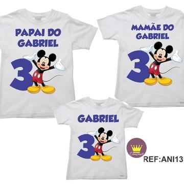 Kit 3 Camisetas Aniversario Mickey e Minnie 02