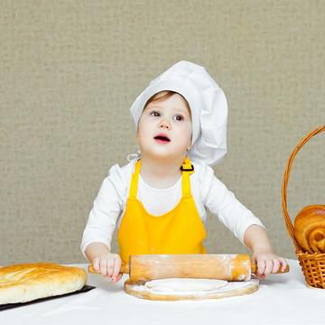 18 Avental infantil unissex com chapéu de cheff