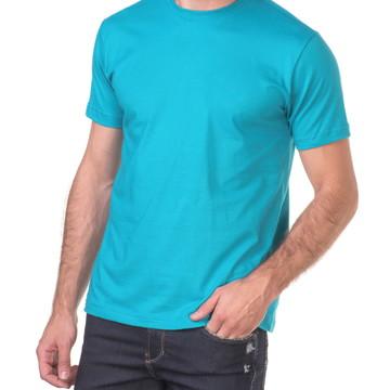 59d9a91a6c Camiseta 100% Algodão Sem Estampa Fio 30.1 Azul Turquesa