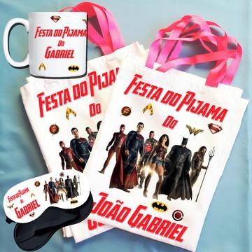 Kit Festa do Pijama Bolsinha+Máscara+Caneca Liga da Justiça