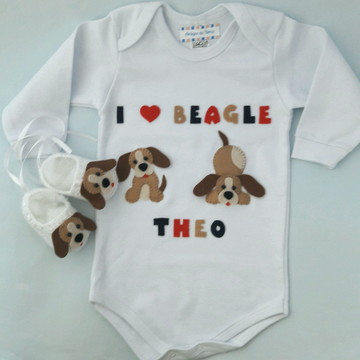 Kit body e sapato cachorrinho Beagle
