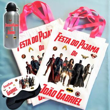 Kit Festa do Pijama Bolsinha+Máscara+Squeeze Liga da Justiça