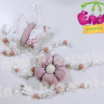 Pingente Flor e Borboleta rosa seco