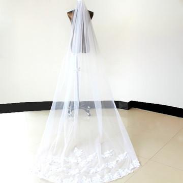 Véu De Noiva Branco Longo Em Tule Francês Alta Qualidade