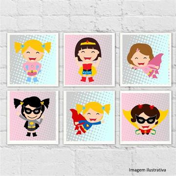 "Kit 6 quadros ""Super Heroínas"""