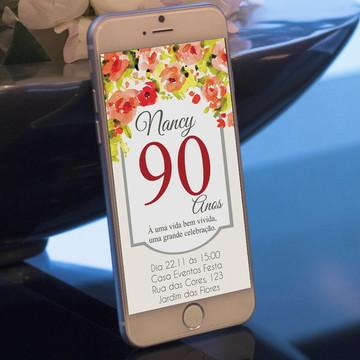 Convite Digital de aniversário tema floral