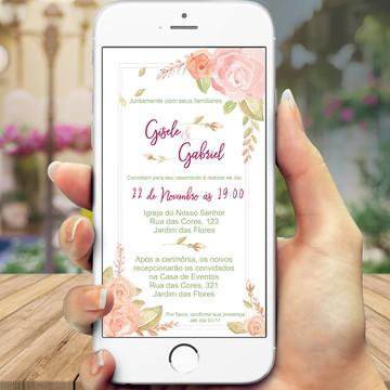Convite digital para casamento floral