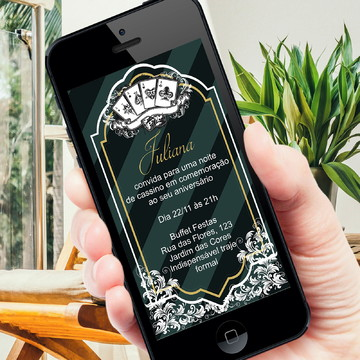 Convite digital tema cassino