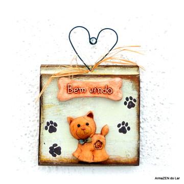 Placa Bem-vindos com gatinho - Placa rustica