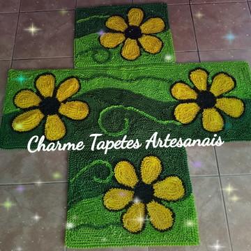 Jogo de tapetes para cozinha 03 peças flores amarelas