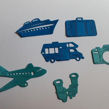 Meios de trasporte e acessórios para viagem, aplique.