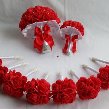 Buquê de noiva vermelho e Branco+Réplica+8 Buquês Madrinhas