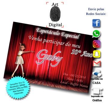 Convites Digitais de Bailarina - Art Digital