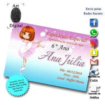 Convite Bailarina Digital - Art Digital