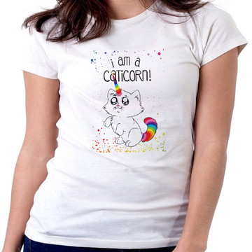 459ab9e2da Blusa feminina baby look camiset Iam caticorn Gato Unicórnio
