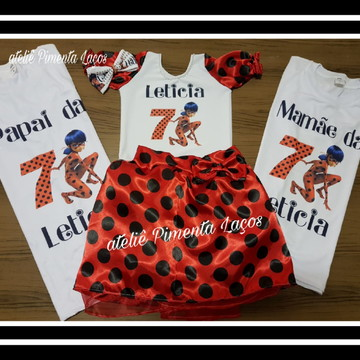 Conjunto Infantil Feminino e Kit Familia tema Lady Bug