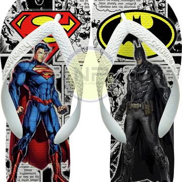 Chinelo Havaianas Personalizados Super Man X Batman