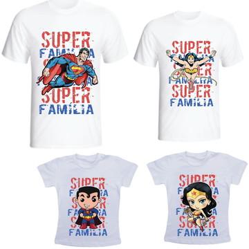 Camiseta Super Familia Kit /04 camisetas - Personalizada
