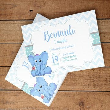 Convite Digital Elefantinho Bonitinho