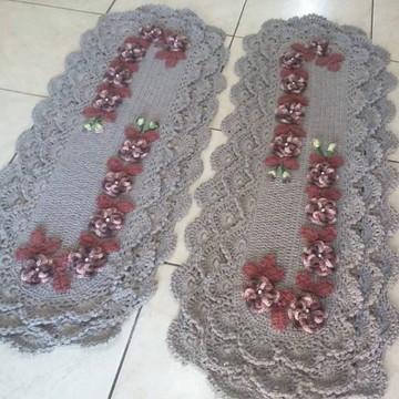 Tapete de Cozinha de crochê 2 peças