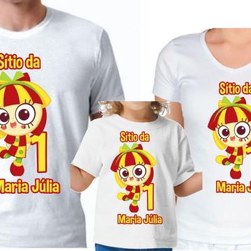 Kit Camisas Pai, mãe e filha Emília