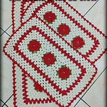 Jogo de tapetes para cozinha em crochê