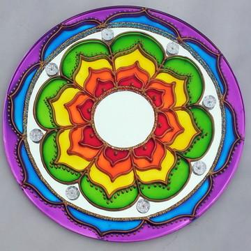 Mandala Vibração das Cores em espelho de 20cm