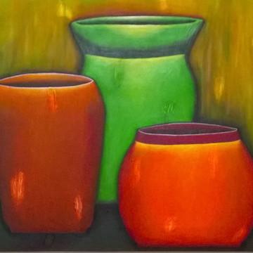 Quadro Decorativo Pintura Vasos