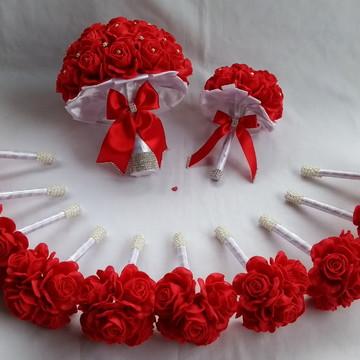 Buquê de noiva vermelho e Branco+Réplica+12 Buquês Madrinhas