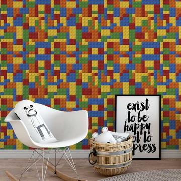 Papel de parede lego adesivo colorido em vinílico