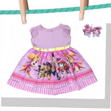Vestido tema Patrulha Canina Festa Infantil + Laço
