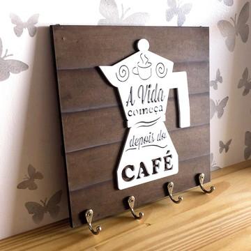 """Porta Xícaras Bule """"A vida começa depois do Café"""" mod2"""