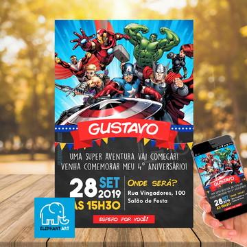 Convite Aniversário Vingadores - Arte Digital
