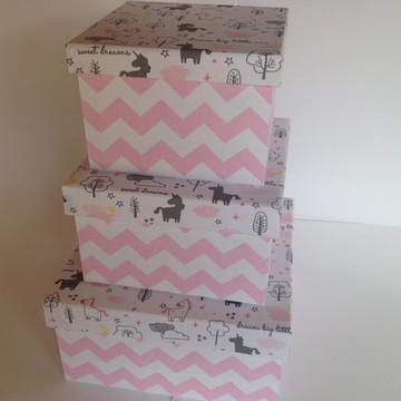 Trio caixa decorativa rosa e cinza