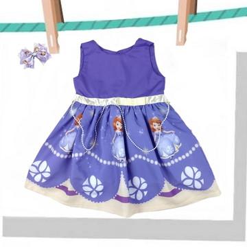 Vestido Infantil Princesa Sofia Tema Festa + Laço