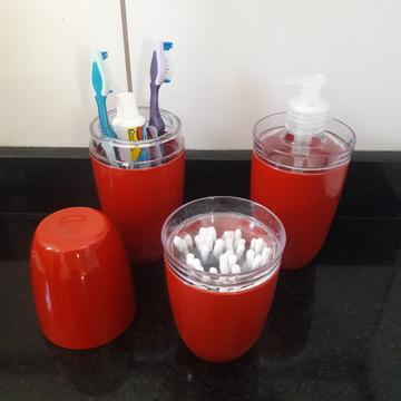 Kit lavabo banheiro potes para banheiro vermelho 3 peças