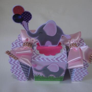 Caixa bala Elefantinha Cinza e Rosa luxo #2
