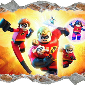 Adesivo Buraco Os Incríveis 2 Lego Infantil Quarto Filho 3d