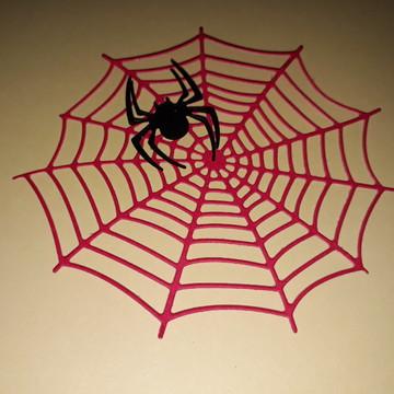 Teia de aranha + aranha (Tamanho padrão)9 cm.