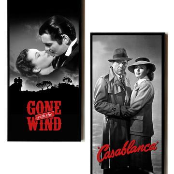 Dupla de quadros E o vento levou e Casablanca preto e branco